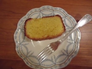 Cocoanut loaf cake made with eggs preserved with lard. Eggs put in storage on 4/4/13 and cake was baked on 11/21/13
