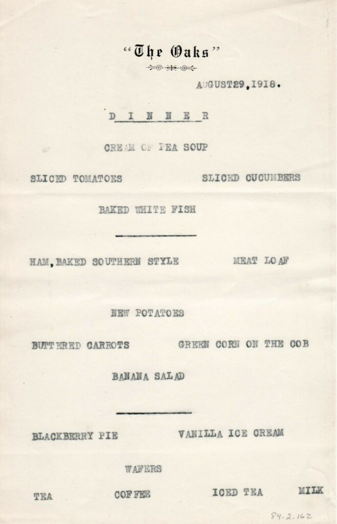Dinner menu from the Oaks in Omena, Michigan Aug 29, 1918